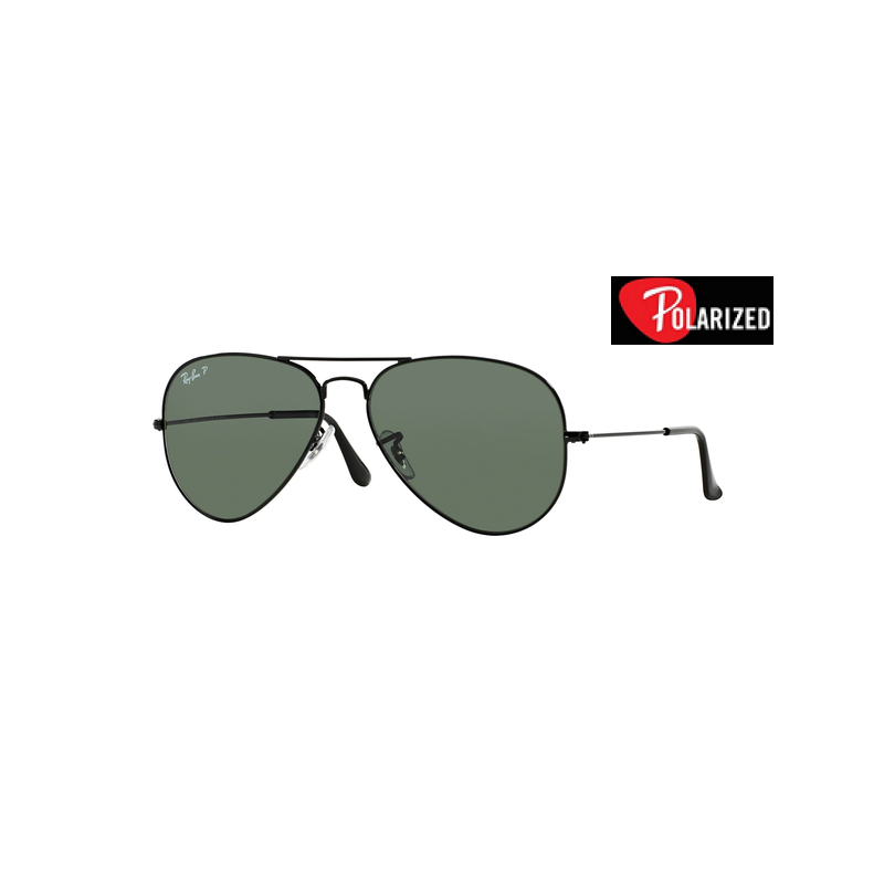 bdde89acf5 RAY-BAN AVIATOR LARGE METAL RB 3025-Color 002/58 BLACK/CRYSTAL CLASSIC  GREEN G-15 POLAR