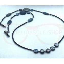 BLACK PERL eyeglass chain